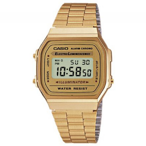 Casio Mens Size Gold Plated Bracelet Digital Watch A168WG-9EF With A Gold Coloured Face Dial